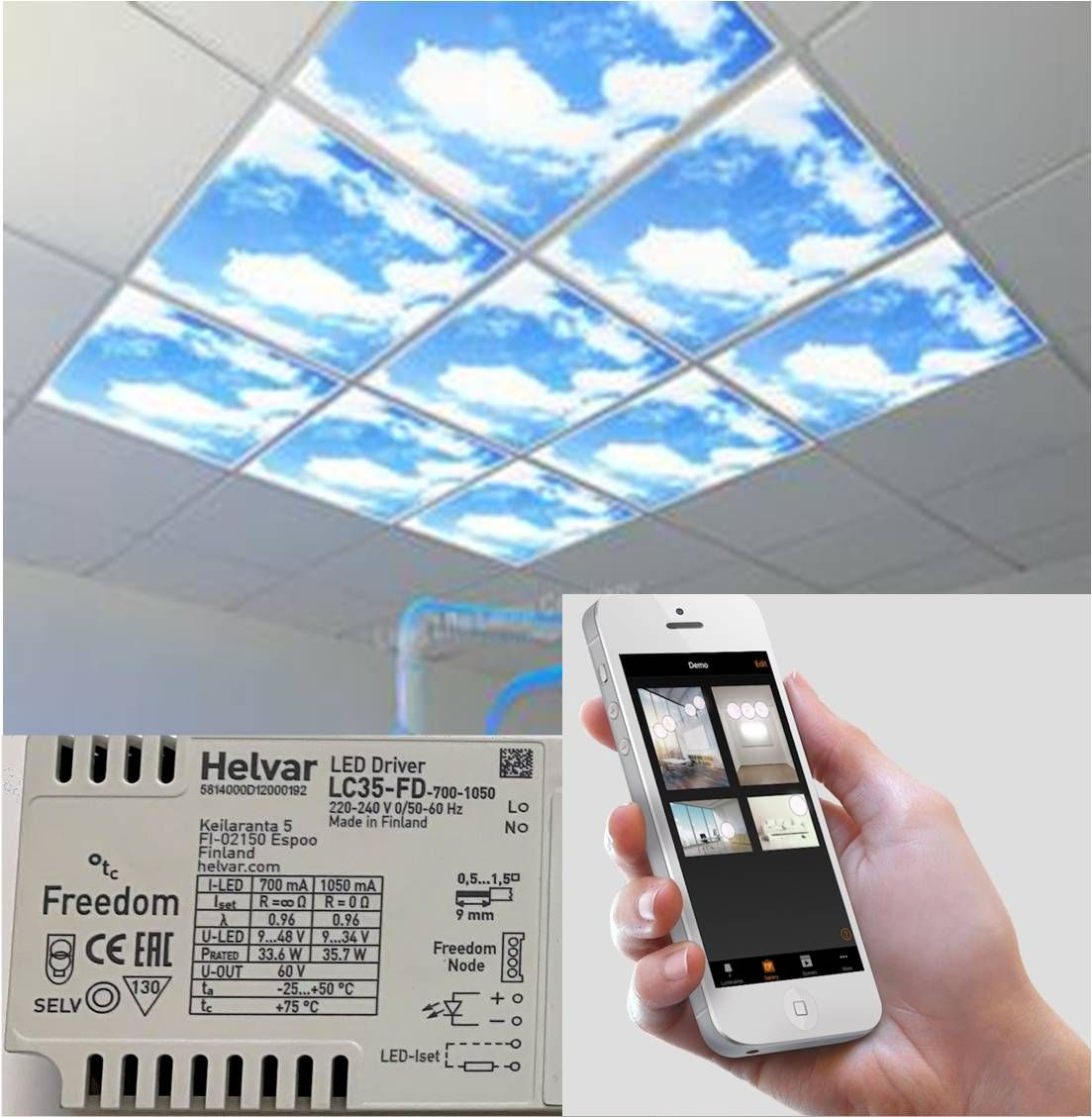 Mobile Phone dimmable LED sky panels